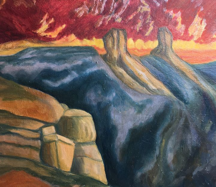 """""""Sunset at Chimney Rock"""" - Hally DeCarion's Paintings"""