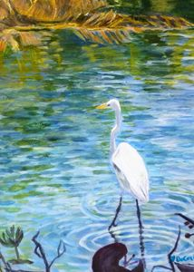 Crane at Spring Lake - Hally DeCarion's Paintings