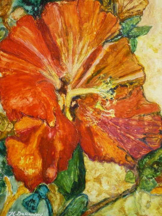Red and Orange Hibiscus Flower - Hally DeCarion's Paintings
