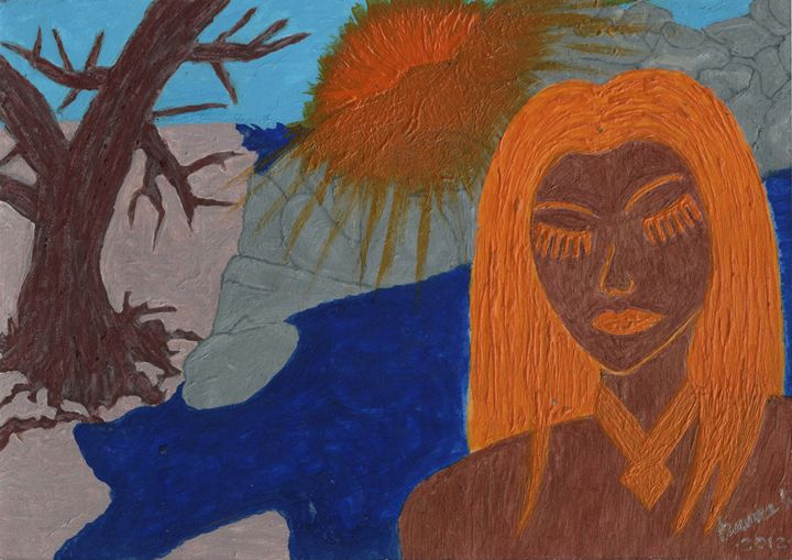 SunLady II At The Rocky Seaside - HannaKhash Art