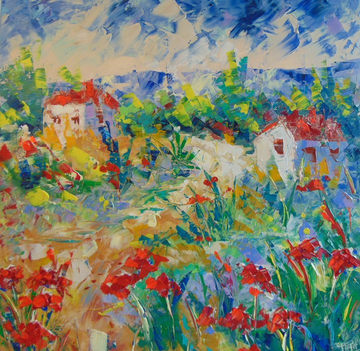 poppy field Provence - Frederic Payet Art