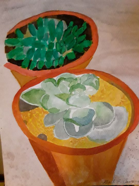 Chicken and Hens Cactus - Gail Cavanaugh Art