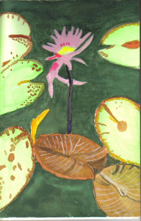 Lily Pads and Flower - Gail Cavanaugh Art