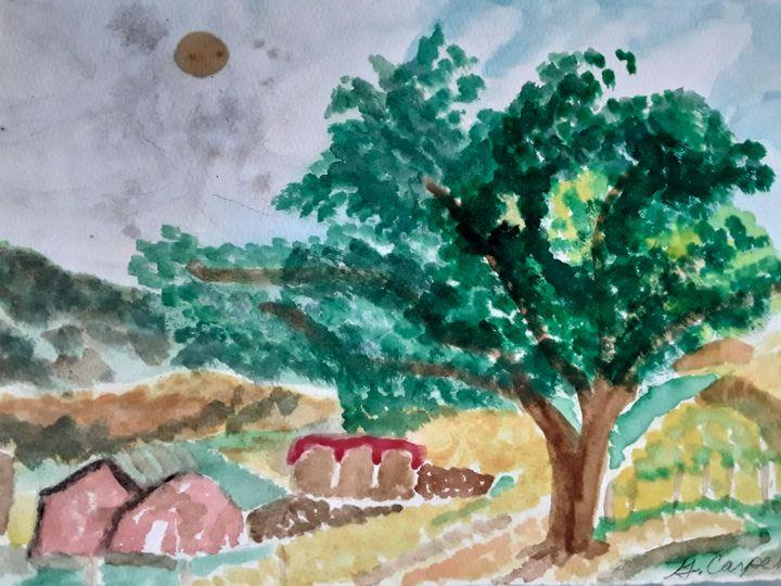 Farm House and Tree - Gail Cavanaugh Art