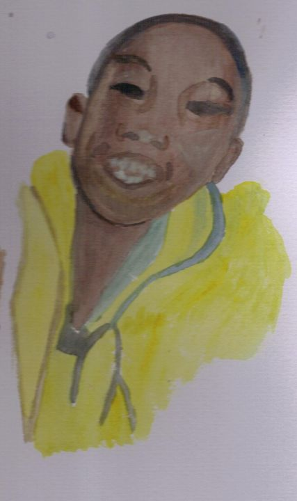 African Boy with Yellow Jacket - Gail Cavanaugh Art