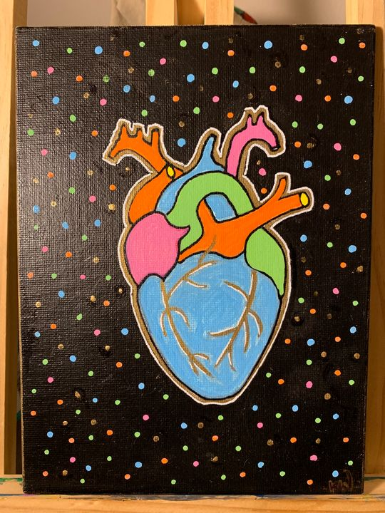 Metallic Heart Painting - Followsuccess