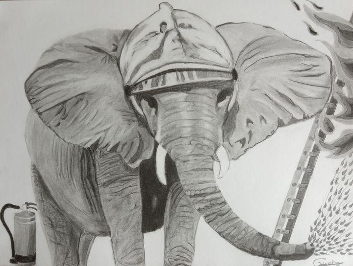 L'éléphant , pompier. - Gweno