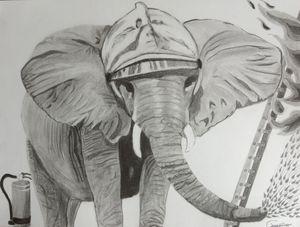 L'éléphant , pompier.