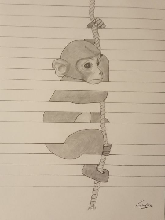 Chimpanzé à la manière Joao Carvalho - Gweno