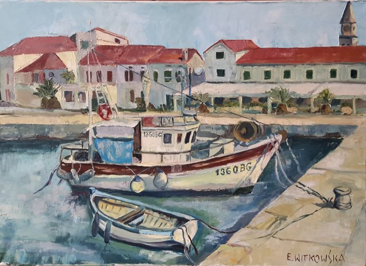 Boats in the harbor - Ewa Witkowska
