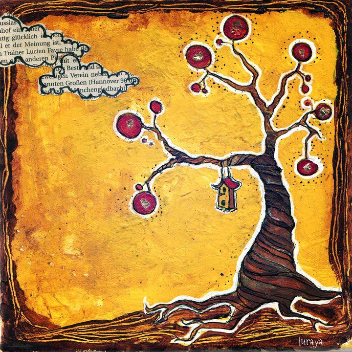 birdhouse on tree - lurayas art