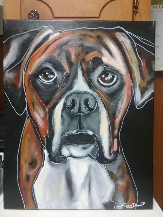 Abstract Original Boxer Dog Painting - Susan Dunn