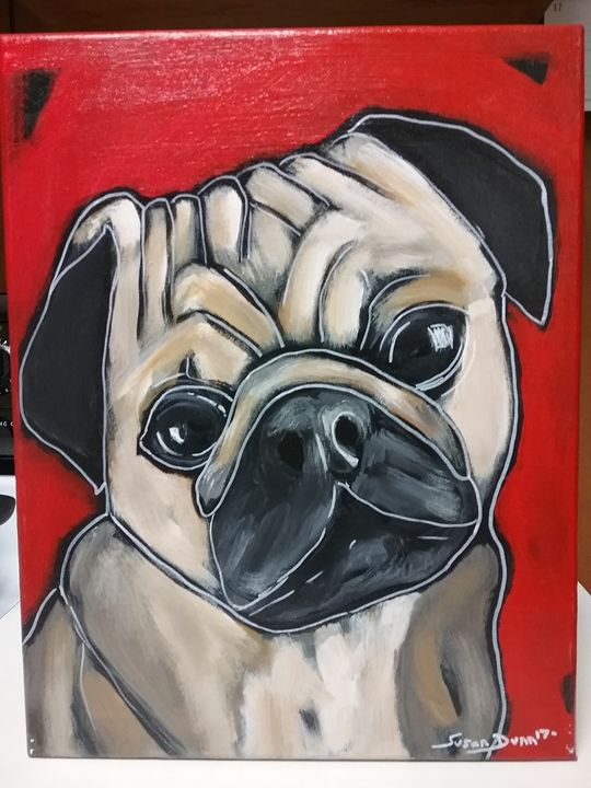 Abstract Acrylic Pug Dog Painting - Susan Dunn