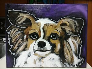 Papillon Dog Painting acrylic