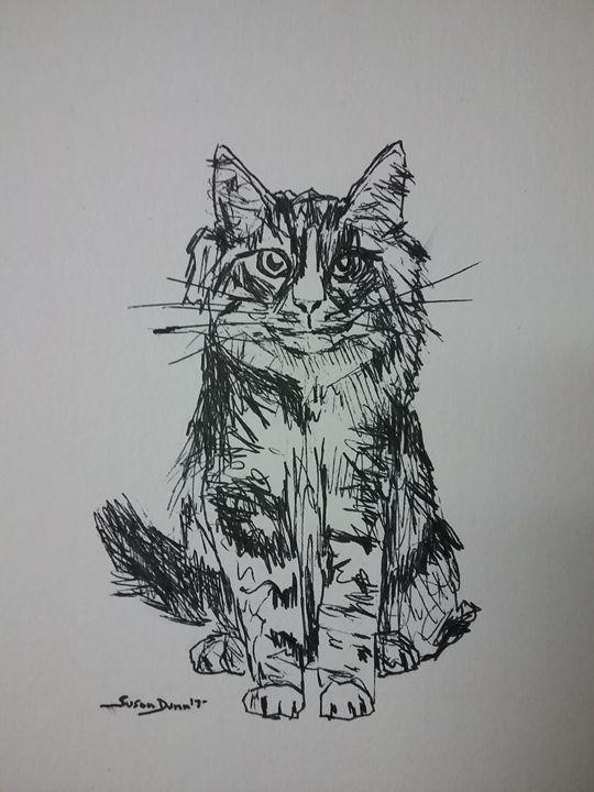 Original Cat Pen and Ink Drawing - Susan Dunn