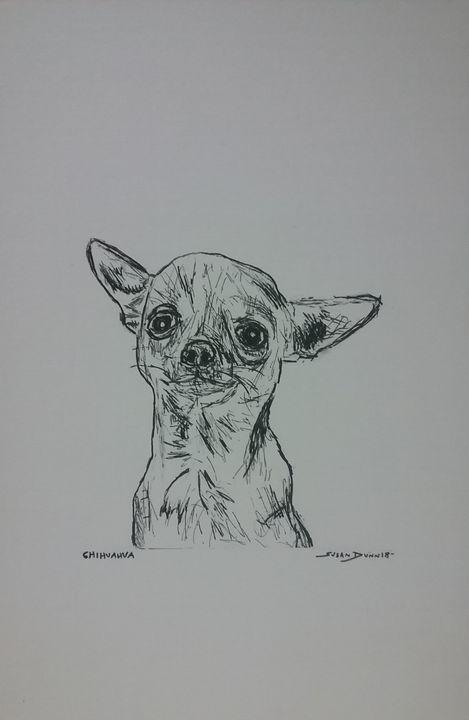 Original Chihuahua Dog Drawing - Susan Dunn