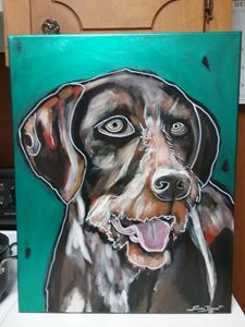 German Wire Haired Pointer Painting