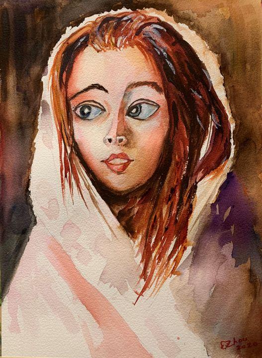 Girl in Cloak - Florence Zhou 's Fine Art