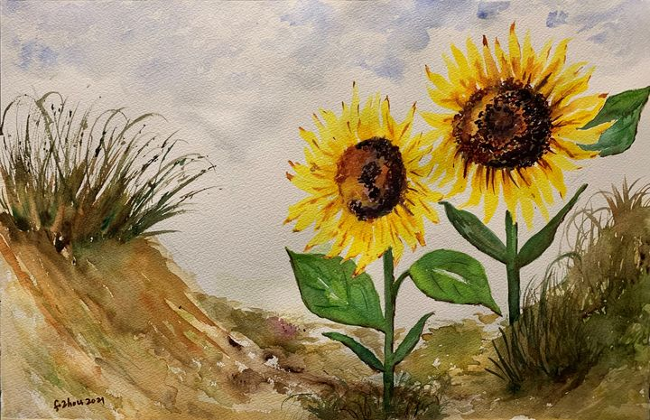 Sunflowers - Florence Zhou 's Fine Art