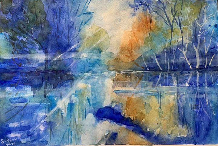 Mist on the Lake - Florence Zhou 's Fine Art