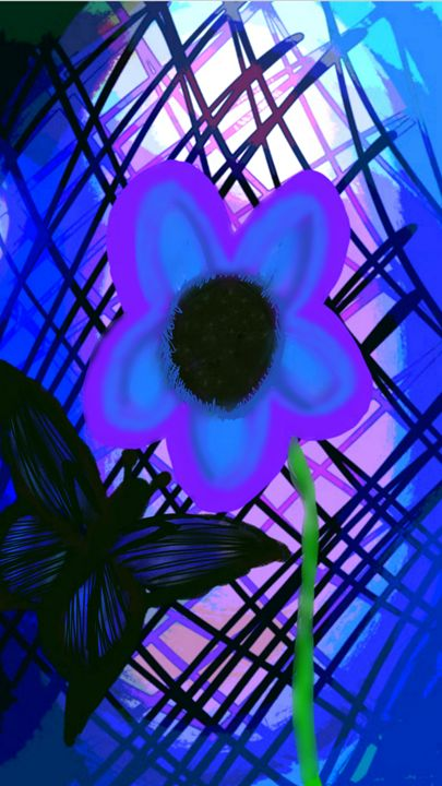 Blue butterfly and flower - mewmewtrey