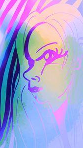 Pink outline face