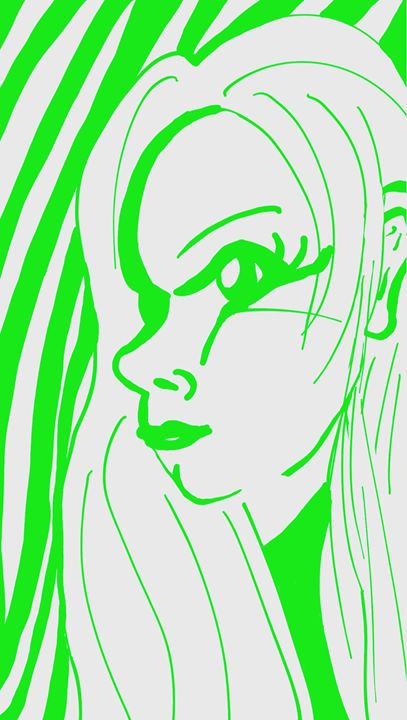 Green outline face 2 - mewmewtrey