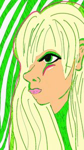 Green outline face 3