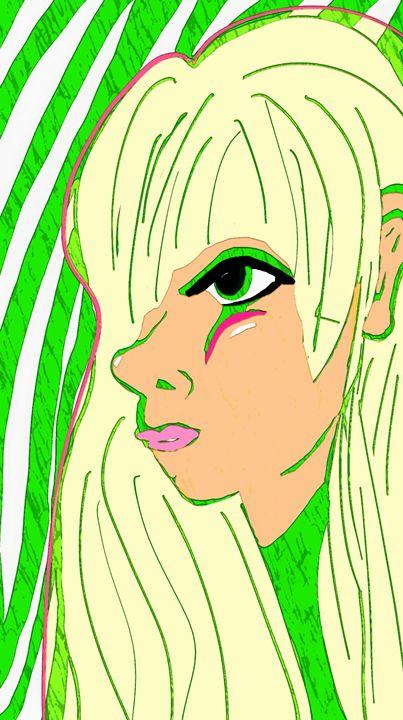 Green outline face 3 - mewmewtrey