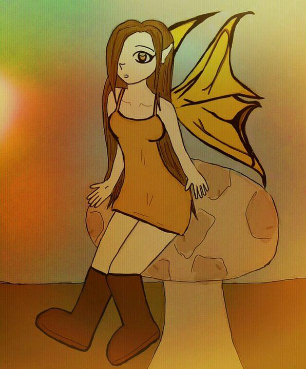 fairy sitting on a mushroom - mewmewtrey