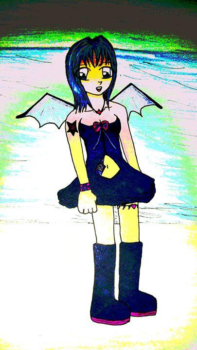 demon winged girl on the beach - mewmewtrey