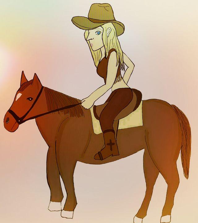 cowgirl riding a horse - mewmewtrey