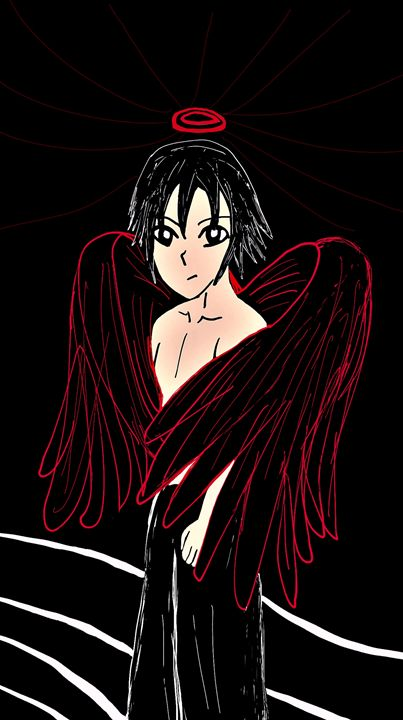 Dark angel with red lined wings - mewmewtrey