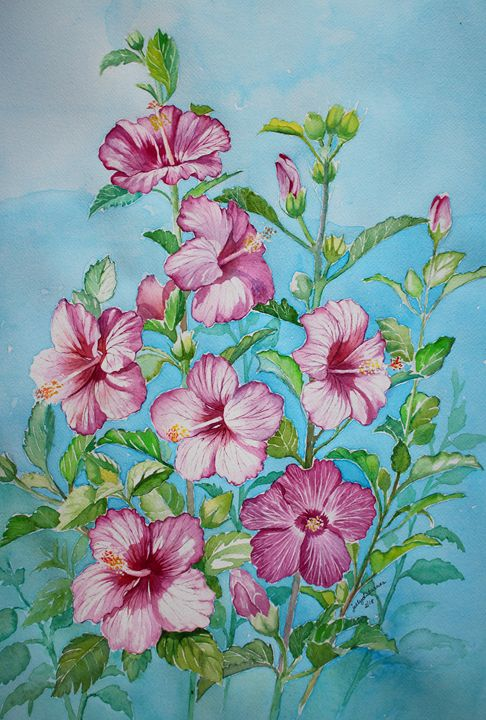 Pink Hibiscus - Jelly's Arts
