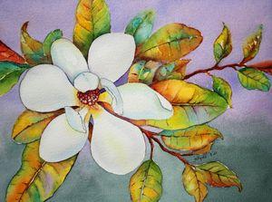 Magnolia Flower In Watercolor.