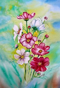 Cosmos Flowers - Jelly's Arts