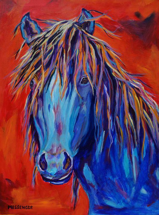Determined-Original 18x24 acrylic - Denise Messenger Horse Art