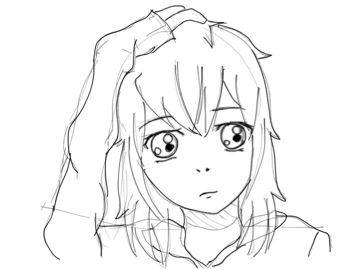 Unfinished/outline of Anime Girl - Spark_of_Art