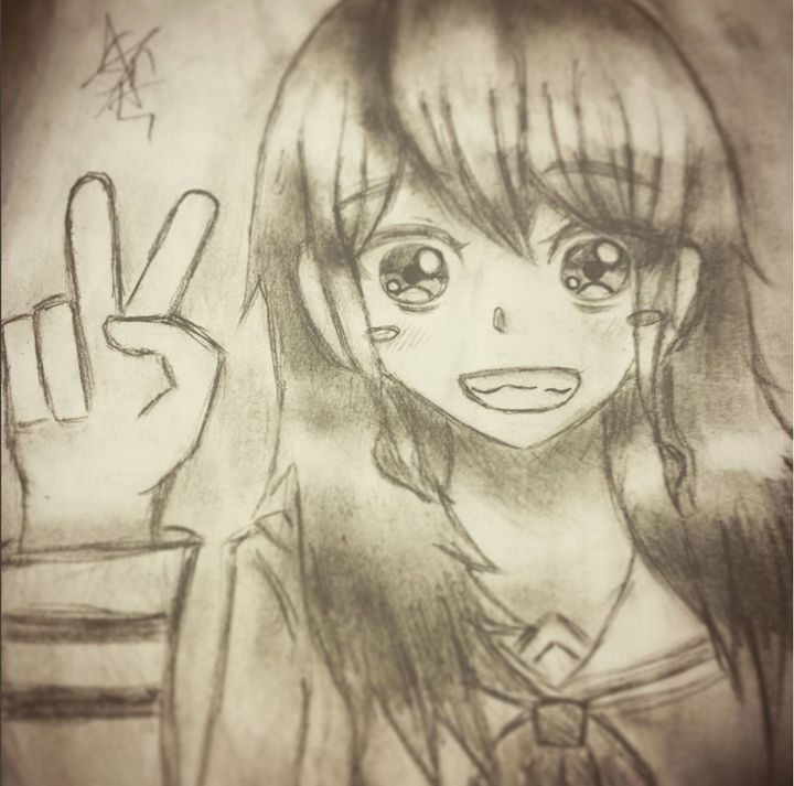 Peace-sign Girl Pencil - Spark_of_Art