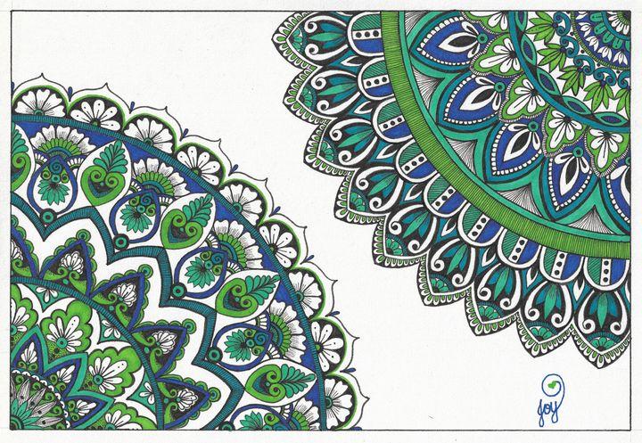 Blues Green double mandala - Joy Gillard