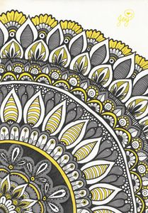 Dove Grey and Yellow Quarter Mandala