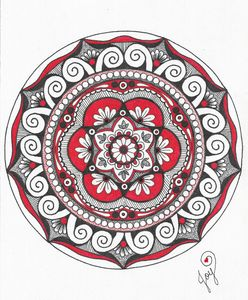 Bold Red, White and Black Mandala