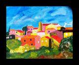 acrylique d'un village