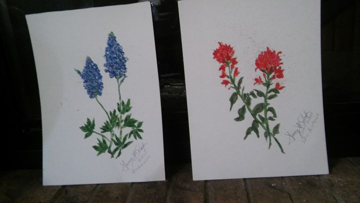 Texas Wildflower Pair of Prints - Nancy's Botan Painting