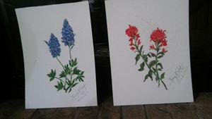 Texas Wildflower Pair of Prints - Nancy's Botan Painting