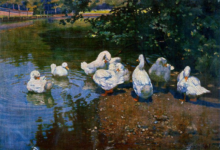 Ducks by a Pond by F. Gras̈sel - Yvonne