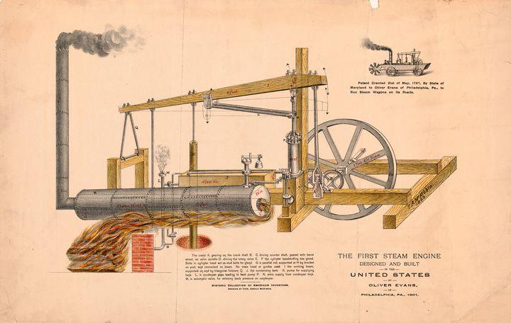 Diagram First U.S. Steam Engine 1801 - Yvonne