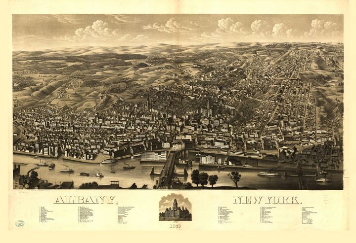 Aerial View of Albany New York 1879 - Yvonne