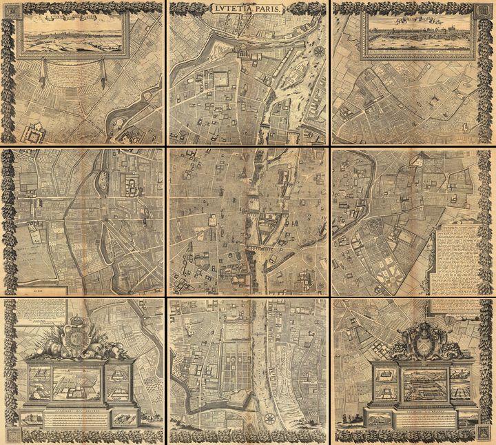 Nine panel plan of Paris Map - Yvonne