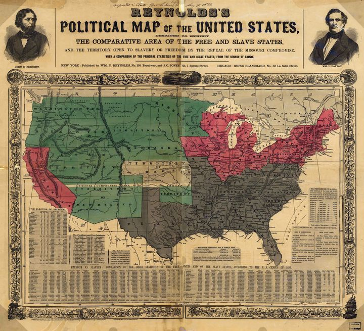 Political Map United States (1850) - Yvonne
